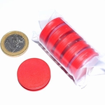 Jetons néodyme D25 x 6 mm. Couleur:Rouge. Lot de 5 Pcs