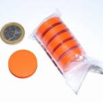 Jetons néodyme D25 x 6 mm. Couleur: Orange. Lot de 5 Pcs